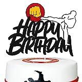 Karate Cake Topper Taekwondo Themed Cake Decorations for Men Women Kids Boy Girl Happy Birthday Party Supplies Sparkle Black Decor