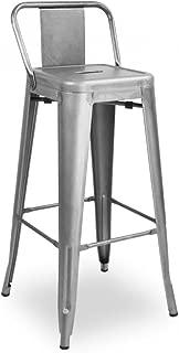 Design Lab MN LS-9100-GUNLB Amalfi Steel Low Back Barstool - Clear Gunmetal44; Set of 4