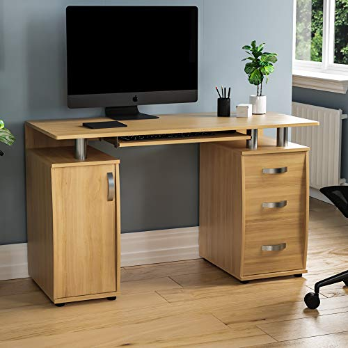 Vida Designs Otley Computer Desk with Shelves and 3 Drawers, Home Office PC/Laptop Gaming Table, Study Workstation with Keyboard Tray, Furniture, Pine