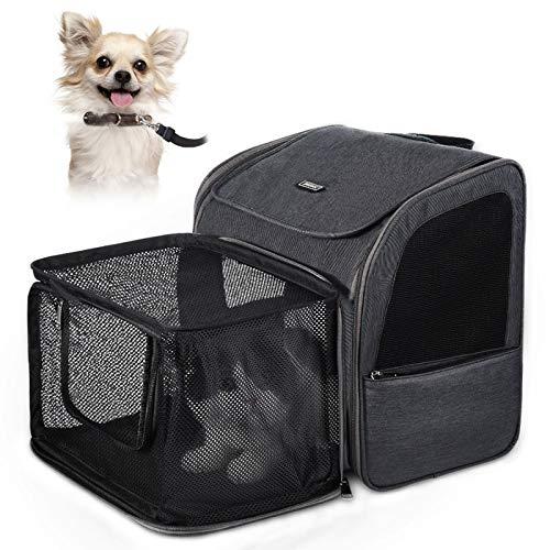 ペットアック「Petacc」猫 キャリー ペットキャリーバッグ リュック 犬 通気性抜群 拡張可能 軽量 携帯しやすい 最適体重10kgまで 安定性 旅行 通院 散歩 アウトドア 緊急避難 お出かけに便利 グレー
