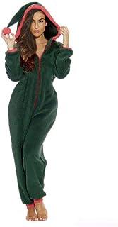 Mono de mujer Onesie para Navidad, mono de cuerpo entero de una pieza, mono de pijama para mujer, mono de forro polar cálido y acogedor