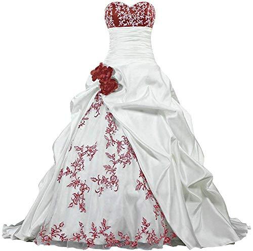Zorayi Damen Elegante Kapelle Zug Prinzessin Ballkleid Brautkleid Hochzeitskleider Elfenbein & Burgund Größe 44