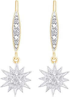 ed0f4f81a Aria Jewels Natural Diamond Accent Starburst Drop Dangle Earrings in Gold  Plated 925 Sterling Silver for