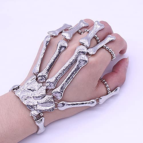 POSDN Pulsera de Dedo de Calavera Punk, Pulseras Flexibles de Dedo de Mano de Esqueleto gótico para Mujer, Halloween