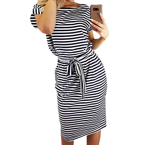 Roselux Women's Elegant Short Sleeve Wear to Work Casual Pencil Dress with Belt ¡