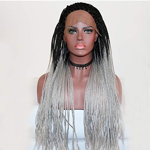 28 Pouces Dark Roots Ombre Gris Tressé Longue Synthétique Avant De Lacet Perruque pour Les Femmes Artificielle Cheveux Tresses Perruque