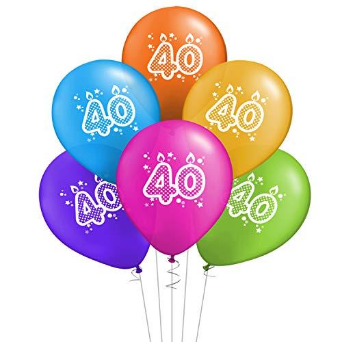 ocballoons Juego de 20 globos para cumpleaños de 40 años, biodegradables, de látex, para decoración de fiestas, inflables, con bombona de helio con texto «Made in Italy»
