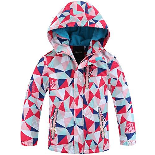 Liny Waterdichte jas voor meisjes, wandelen – jas met capuchon voor kinderen, bedrukt, softshell, jas, skihoodie, kleding, winddicht, reizen, winter, warm, outwear