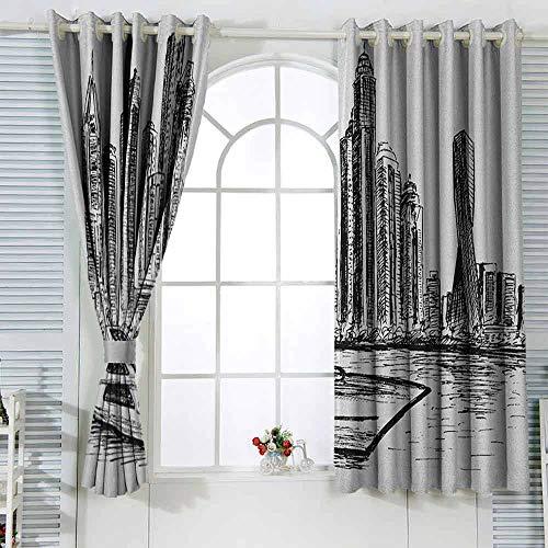 Cortinas de cocina Sketchy New York Manhattan estilo dibujado a mano rascacielos moderno barco en río decoración temática cortinas W108x84L pulgadas negro blanco