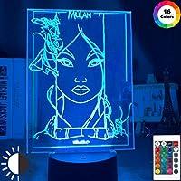 3DナイトライトFa Mulan Mushu Cri-KeeナイトライトキッズベビールームインテリアライトUSBバッテリー式ナイトランプ3Dイリュージョン