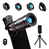 Crenova Phone Camera Lens Kit, 11 in 1 Universal 22X Telephoto Lens + 25X Macro Lens + 0.62X Wide Angle Lens + 235° Fisheye Lens + Bluetooth Shutter + Extendable Tripod for iPhone, Android Phone