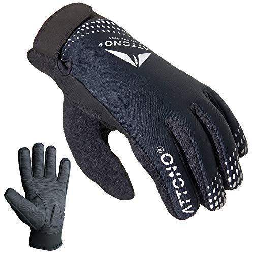 ATTONO Fahrradhandschuhe Winter Fahrrad Mountainbike Handschuhe mit wasserdichter Membrane (L)