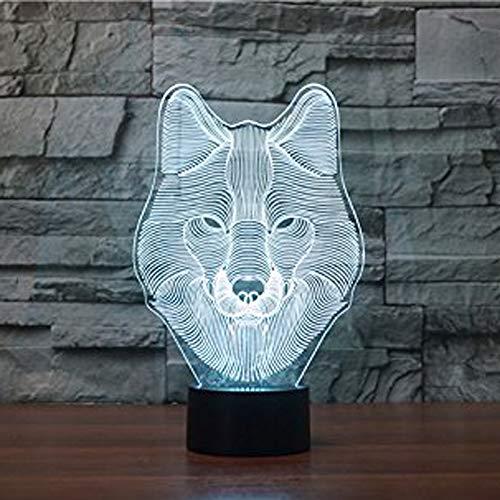 HYSENM Nachtlicht Nachtlampe 3D Deko LED Acryl für Schlafzimmer Tiere-Serie, Wolf