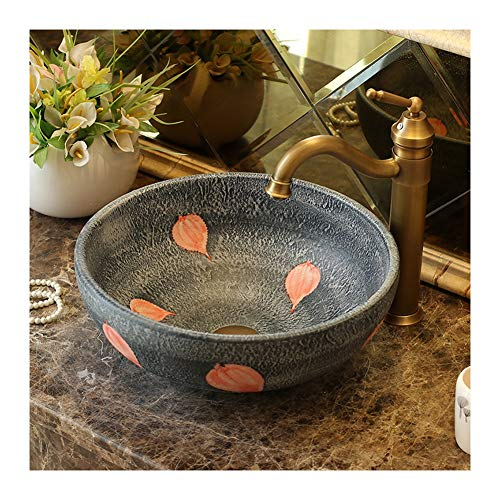 Waschbecken Art Modern Waschbecken Set Rund 16.1x5.9inch Waschtisch Aus Keramik Hochwertiger (Color : Single Basin)