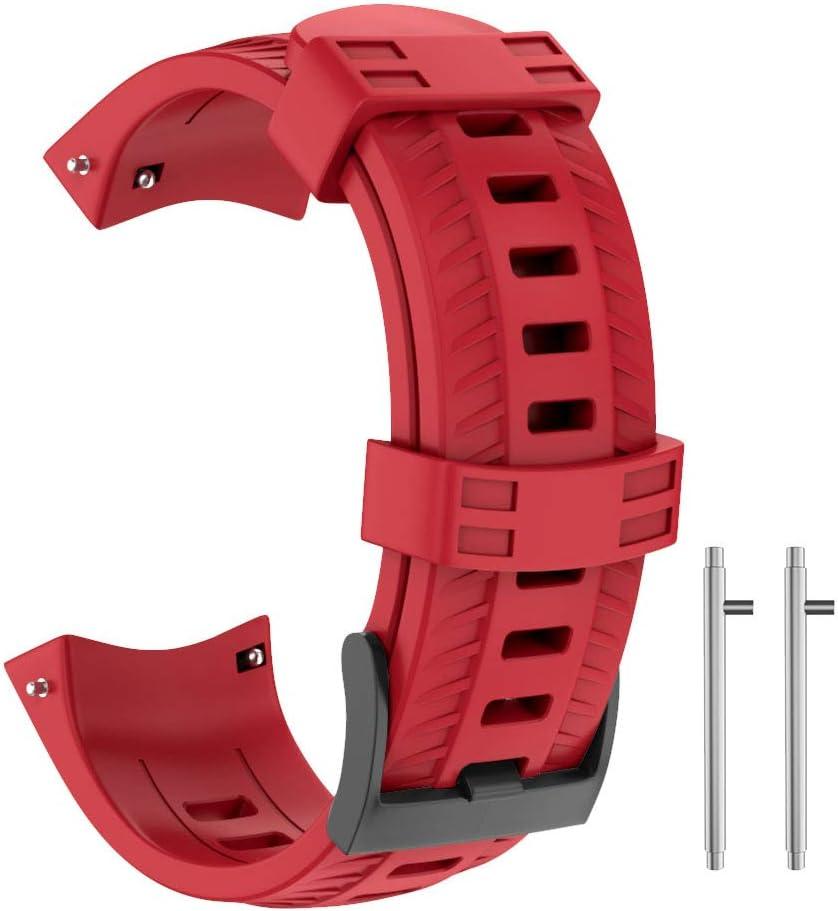 ISABAKE Correa para Suunto 9, Correa de Silicona Suave Correa de Repuesto de tamaño Ajustable Compatible con Suunto 9 / Spartan Sport Wrist HR Baro/Suunto D5 (Rojo)