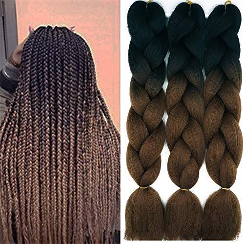 Cybelleza Meches pour Tresses Africaine Lot de 3 Extension de Cheveux Synthétique Tressage Ombre Jumbo Braiding Kanekalon Crochet, Noir/Marron foncé