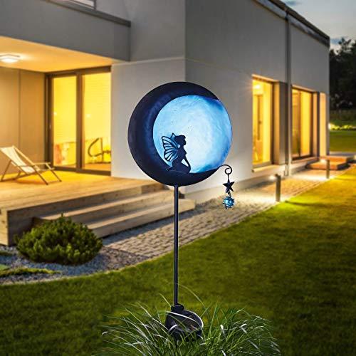 Pureday MiaVILLA Elfe lumière Solaire sur la Lune-Jardin Plug-Noir Bleu-Hauteur Environ 95 cm