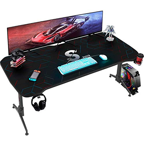 Homall Gaming Desk 60 Inch Height Adjustable PC Computer Desk T Shape Office Table Workstation with Full Desk Mouse Pad, Gaming Handle Rack, Cup Holder and Head Set Rack (Black)
