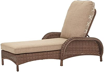 bc46a9817c9 Hampton Bay Beacon Park Steel Wicker Outdoor Chaise Lounge with Toffee  Cushions