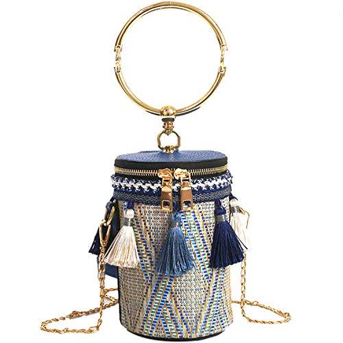 Tassels Woven Bucket Bag, Bucket bags for women, Crossbody, Bule 02, Size Small