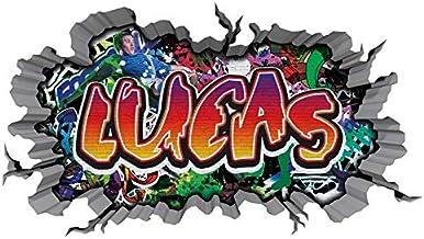 3D muurtattoo graffiti muur sticker naam LUCAS muur doorbraak sticker jongen zelfklevende muursticker jongendecoratie kind...