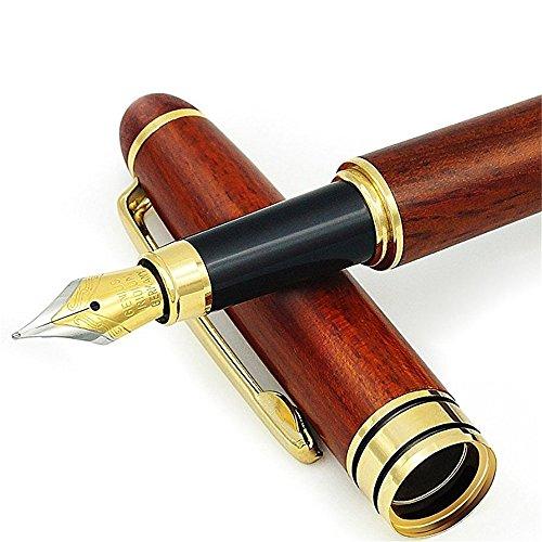 Handgefertigt Luxus Rosenholz-Füllfederhalter, DUBENS Füllhalter Füllfederhalter Füller Kaligraphie Füllhalter mit Tinten-Konverter und Geschenkschachtel, für Retro-Set zum Zeichnen und Schreiben