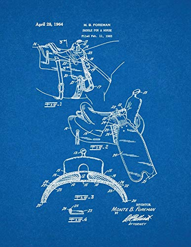 Horse Saddle Patent Print Blueprint (8.5' x 11') M14145