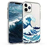kwmobile Cover Compatibile con Apple iPhone 12/12 PRO - Custodia in Silicone TPU - Backcover Protettiva Cellulare New Japanese Wave Blu/Bianco/Trasparente