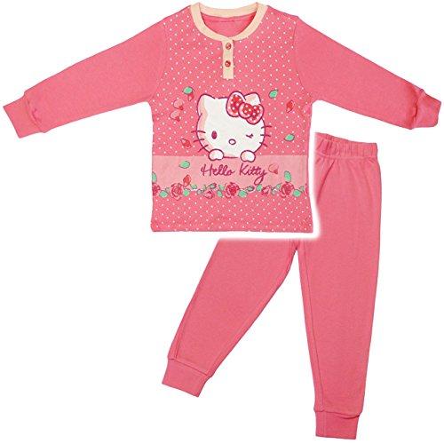 alles-meine.de GmbH 2 TLG. Set _ Schlafanzug / Hausanzug / Pyjama -  Katze - Hello Kitty  - Größe: 5 - 6 Jahre - Gr. 122 - 128 - Langer Trainingsanzug / Sportanzug langärmelig ..