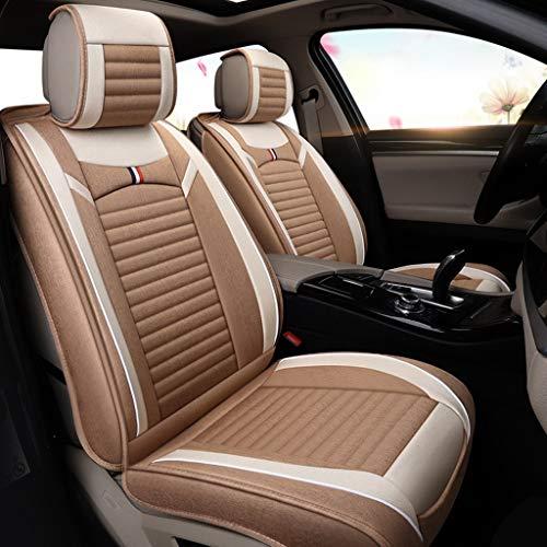 Ademende Vlas Universele autostoelovertrek Kussens Voor Achterzijde 5 zitplaatsen Volledige Set voor Audi Jeep Ford Mercedes-Benz en 98% Andere soorten 5-zitswagens Lichte koffie