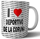 Taza con texto en inglés 'I Love Deportivo Da La Coruna' - Té - Café - Taza - Taza - Cumpleaños - Navidad - Regalo