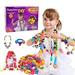 【180pcs Beads】Unique snap-together fashion necklace kit for little girls comes with 180 pieces of funky play jewelry beads in all different shapes, sizes, designs, and fashion-forward 【Educational Toy】Do it by yourselves, make a beautiful decoration ...