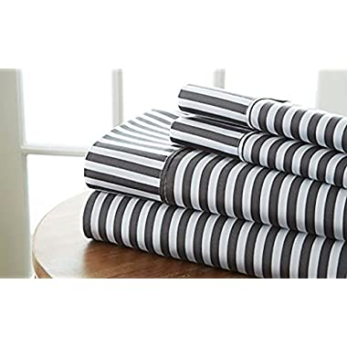 Simply Soft 4 Piece Sheet Set Ribbon Patterned, Queen, Gray