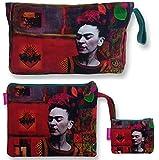 Bolso Aseo/Neceser Maquillaje Viaje/Set 3 Piezas Neceseres, sobre Cartera y Monedero de Mujer Frida Kahlo. (Rojo)