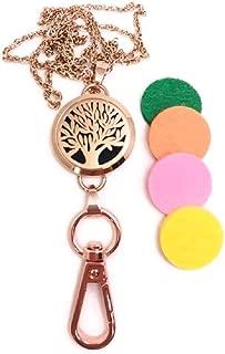 Rose Gold ID Badge Holder Lanyard Necklace Tree of Life Aromatherapy