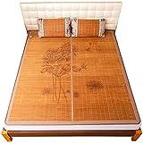 NCHEOI Colchón de enfriamiento de Verano Topper Impreso de bambú de bambú de bambú Colchón colchón Topper Pad Hielo Mat de bambú de Hielo Uso de Doble Cara para Cama Doble