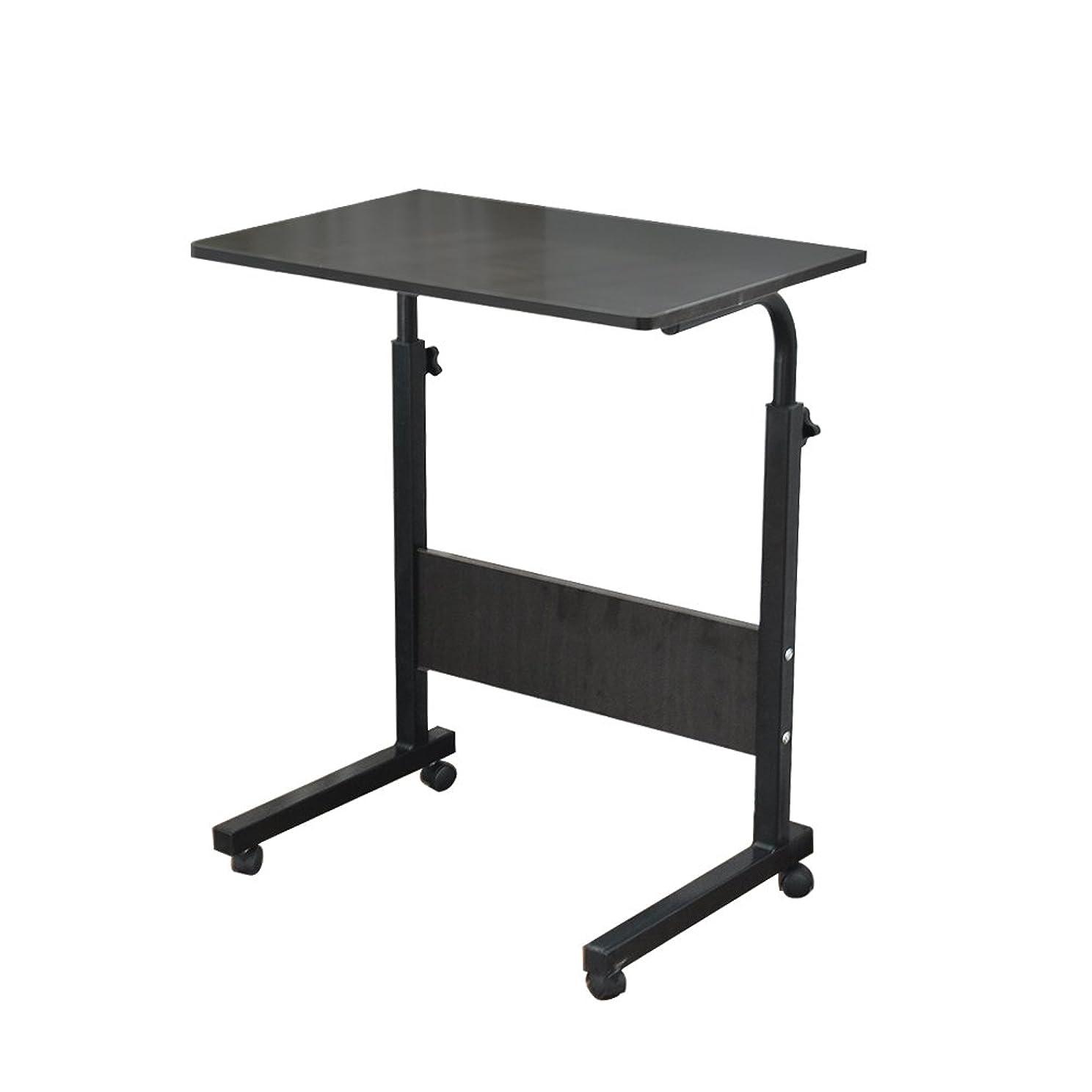 効果官僚連隊Soges 昇降式サイドテーブル ノートパソコンスタンド 可移動デスク キャスター付きデスク (ブラック, 60cm)