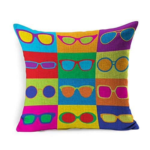 Fodera per cuscino in lino Quadrato anni '50 Motivo colorato Stile pop Generico Occhiali da sole comuni Occhiali da sole con montatura di bellezza Cornici per gli occhi 1950S 1960 Controlli Federa Dec