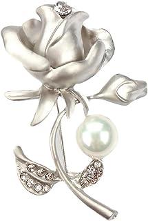 BIGBOBA Broche de perlas rosas para boda, novia, con diamantes de imitación, para bufanda, chal, para regalo de cumpleaños...
