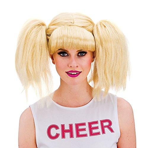 Wicked Ladies Blonde Pigtails Cheerleader School GIrl Wig Fancy Dress Accessory