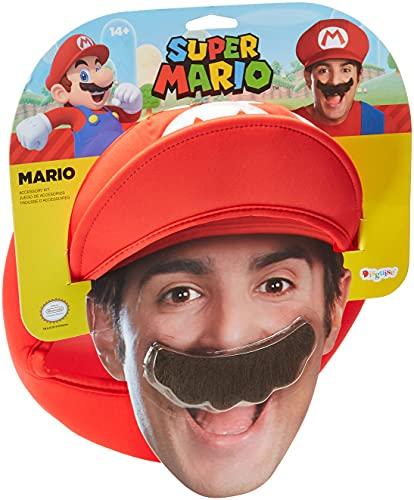 JADEO Casquette et Moustache Mario Adulte - Taille Unique