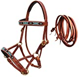 CHALLENGER Horse Western Leather Training Tack Bitless Sidepull Beaded Bridle Reins 77RS12TN