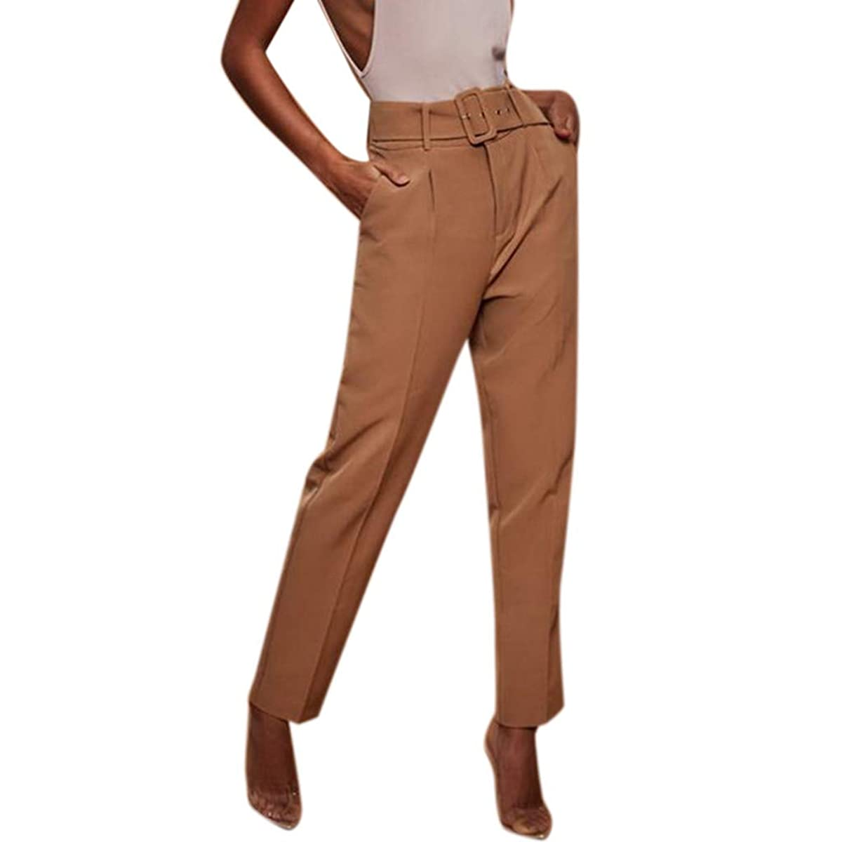 Botrong Pants for Women, Solid High Waisted Loose Pencil Pants Stretch Long Trousers with Pockets
