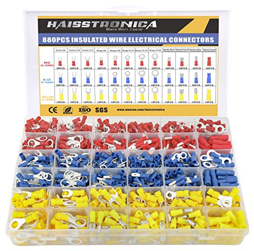 haisstronica 880PCS Electrical Wire Connectors Kit, Easy Wire Insertion Insulated Wire Crimp Terminals of Tinned Red Copper,Ring Fork Spade Butt Bullet Quick Disconnect Assortment Kit(3Colors/12Size)
