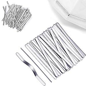 Q-WOOFF 50 Tiras De Aluminio para Puente De Nariz, Hilo De Aluminio para Mascarilla Nasal, Accesorios De Bricolaje para Manualidades De Costura, Accesorios Faciales