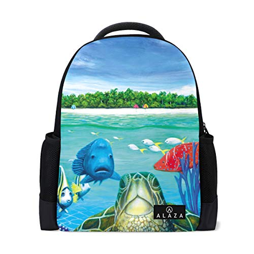 My Daily Sea Animals Cartoon Backpack 14 Inch Laptop Daypack Bookbag for Travel College School