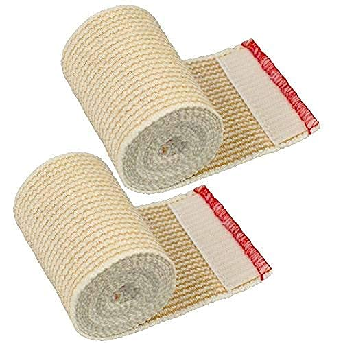 GT USA Organic Cotton Elastic Bandage Wrap (3' Wide, 2 Pack) | Hook & Loop Fasteners at Both Ends | Latex Free | Hypoallergenic Compression Roll for Sprains & Injuries