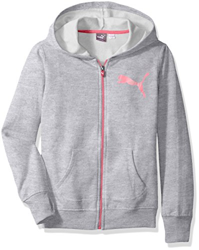 PUMA Big Girls' Zipped Hoodie, Love Potion, Large (12/14)