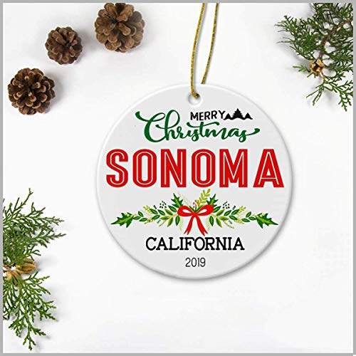 3' Christmas OrnamentMerry Christmas Sonoma California 2019, Ceramic Decoration Ornament Keepsake Christmas Tree Decor Housewarming Gifts Ideas For Friends, Family Members, Couples And Newlywed