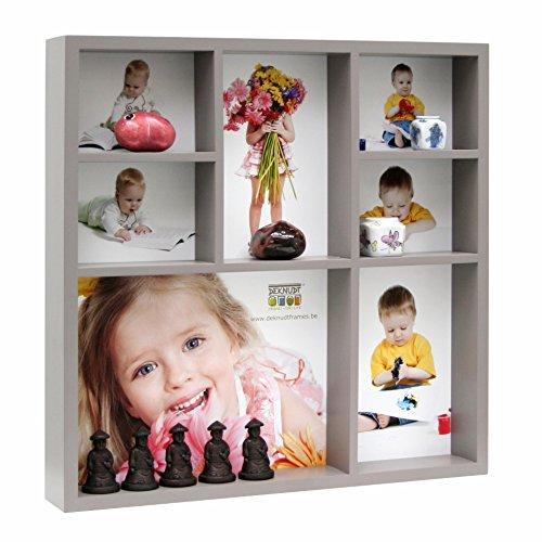 Deknudt Frames S66XL9E7 Bilderrahmen für 7 Fotos, Galerierahmen für Miniaturen, Holz, 30 x 30 cm, Taupe